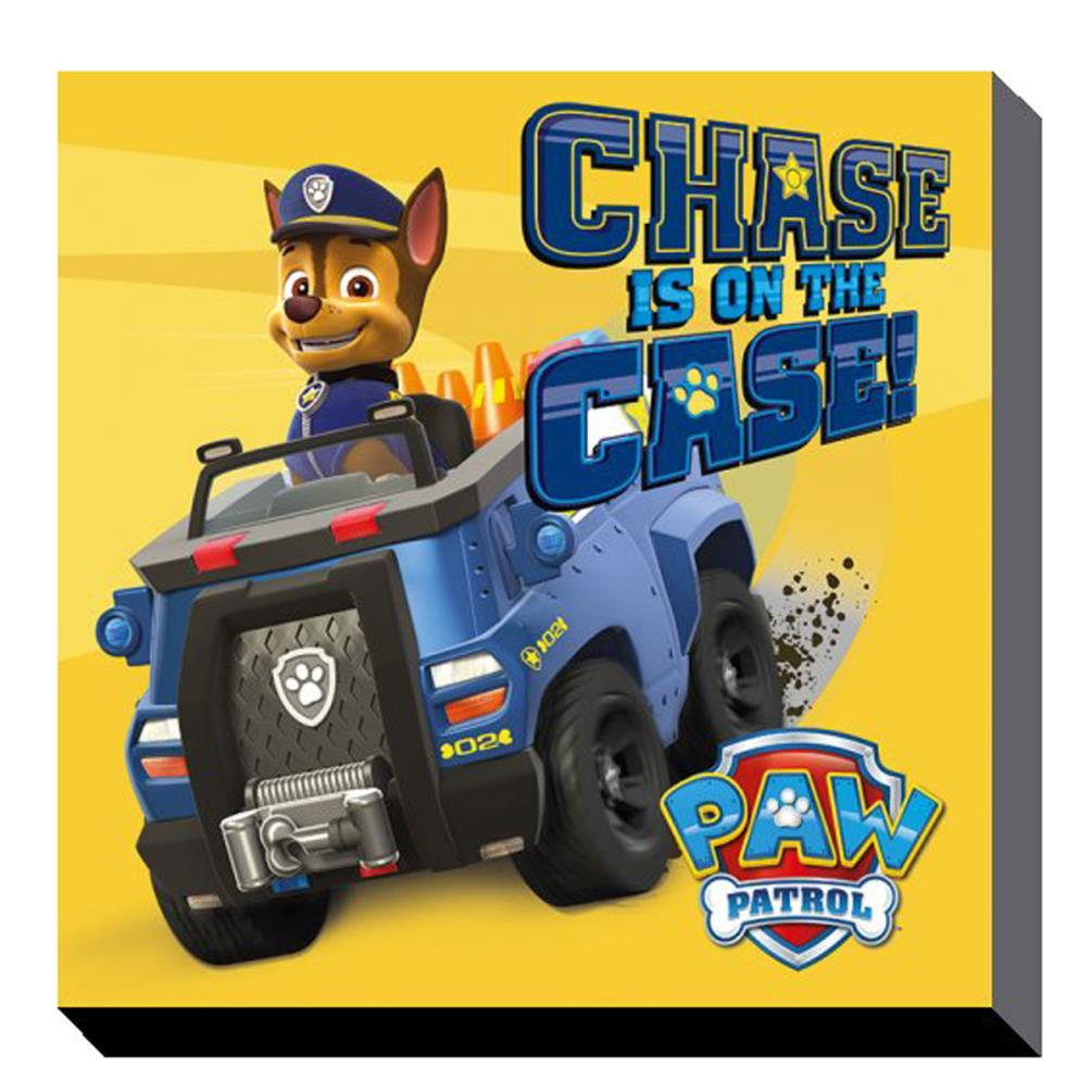 Paw Patrol Chase On The Case Canvas Print 30cm X 30cm Dc91376 Character Brands