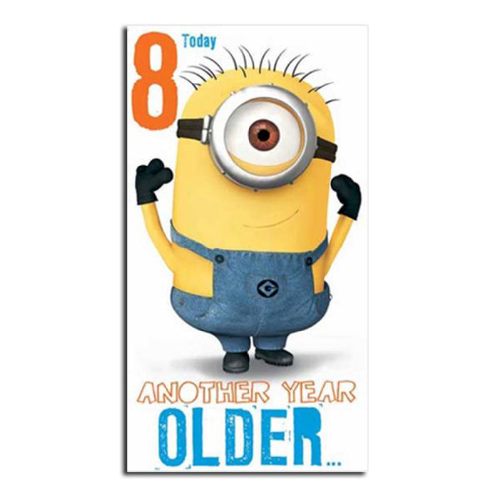 8 Today 8th Birthday Minions Card 210