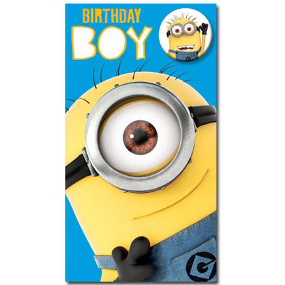birthday boy minions card with badge de032 character brands