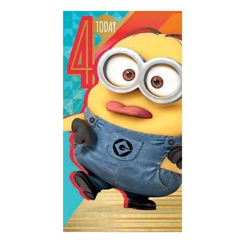 4 today 4th birthday minions card de034 character brands