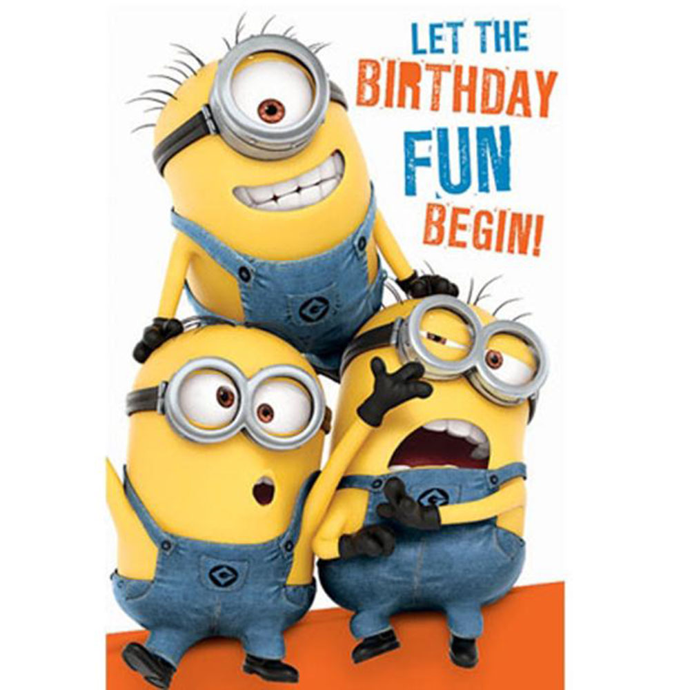 photograph relating to Printable Minion Birthday Cards identified as Birthday Pleasurable Minions Birthday Card With Doorway Hanger