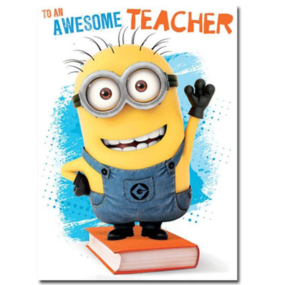 Awesome teacher thank you minions card de060 character brands
