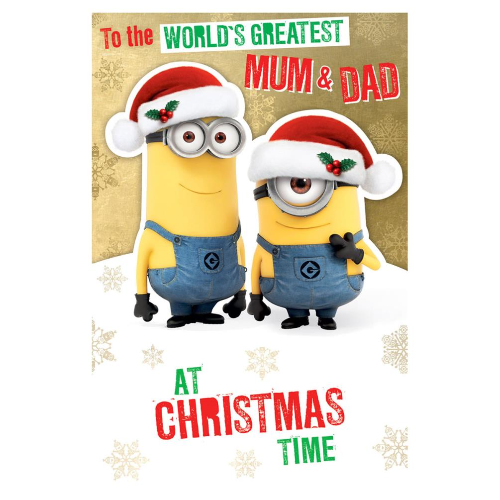 Minions Christmas.Minions Mum Dad Christmas Card