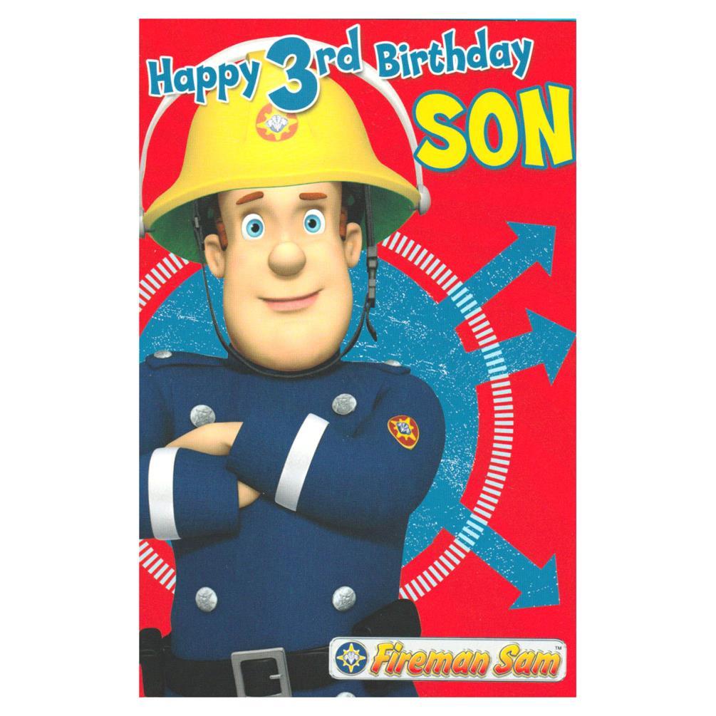 3rd Birthday Son Fireman Sam Birthday Card FS018 Character Brands – Mr Tumble Birthday Card