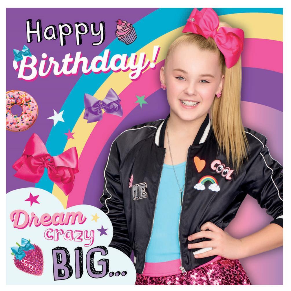 Jojo Siwa Happy Birthday Square Birthday Card Jj011