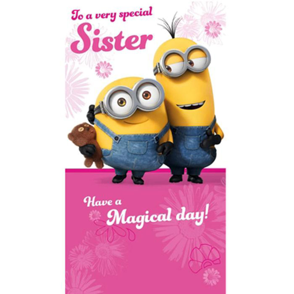 special sister minions birthday card mm010 character brands