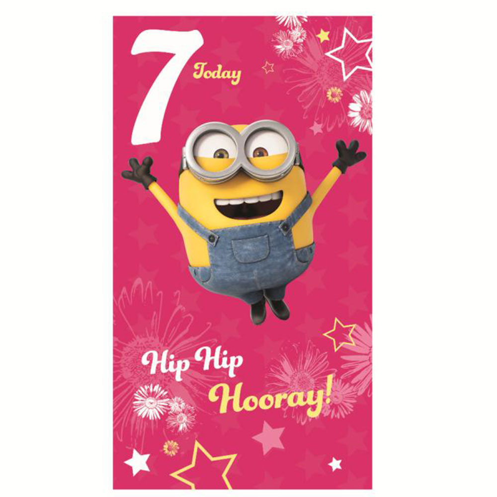 7 Today Pink Minions 7th Birthday Card (MM051)