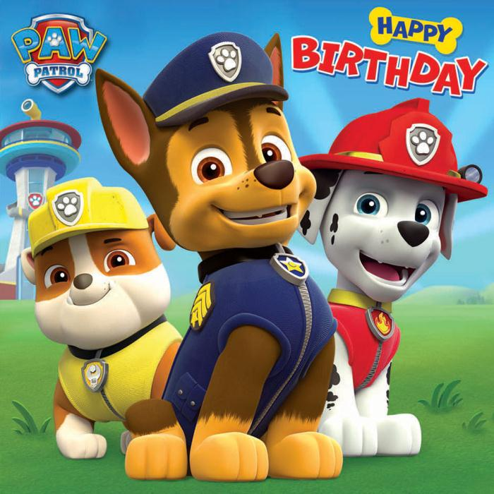 Transformative image for paw patrol printable birthday card