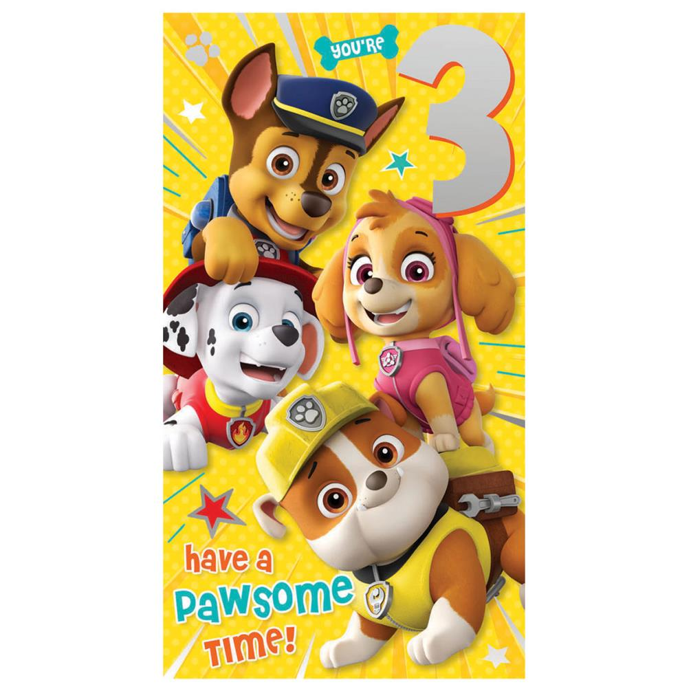 Youre 3 Paw Patrol 3rd Birthday Card PA008 1