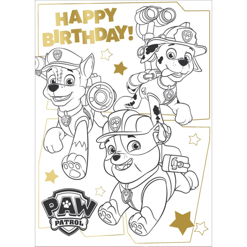 Birthday Card Coloring Pages: Paw Patrol Me Colour In Birthday Card With Poster (PA034