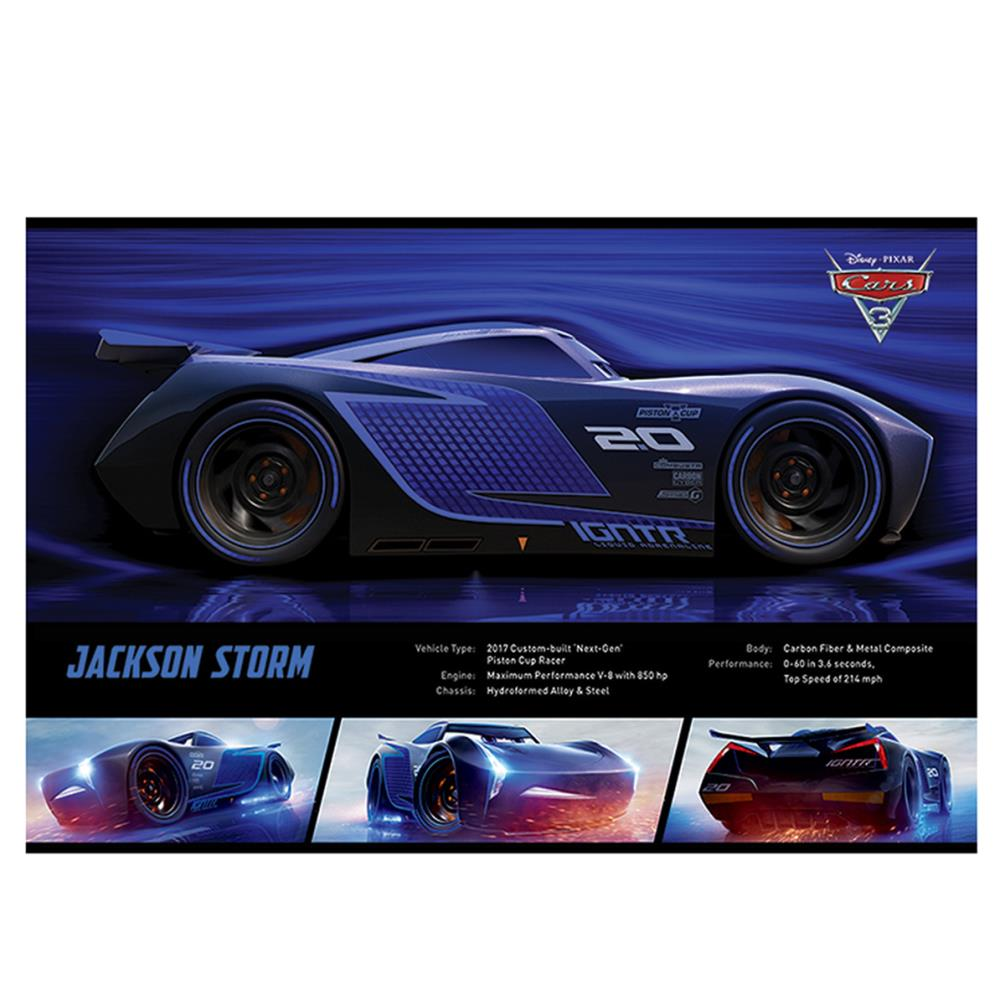 disney cars 3 jackson storm stats maxi poster pp34171 character brands. Black Bedroom Furniture Sets. Home Design Ideas