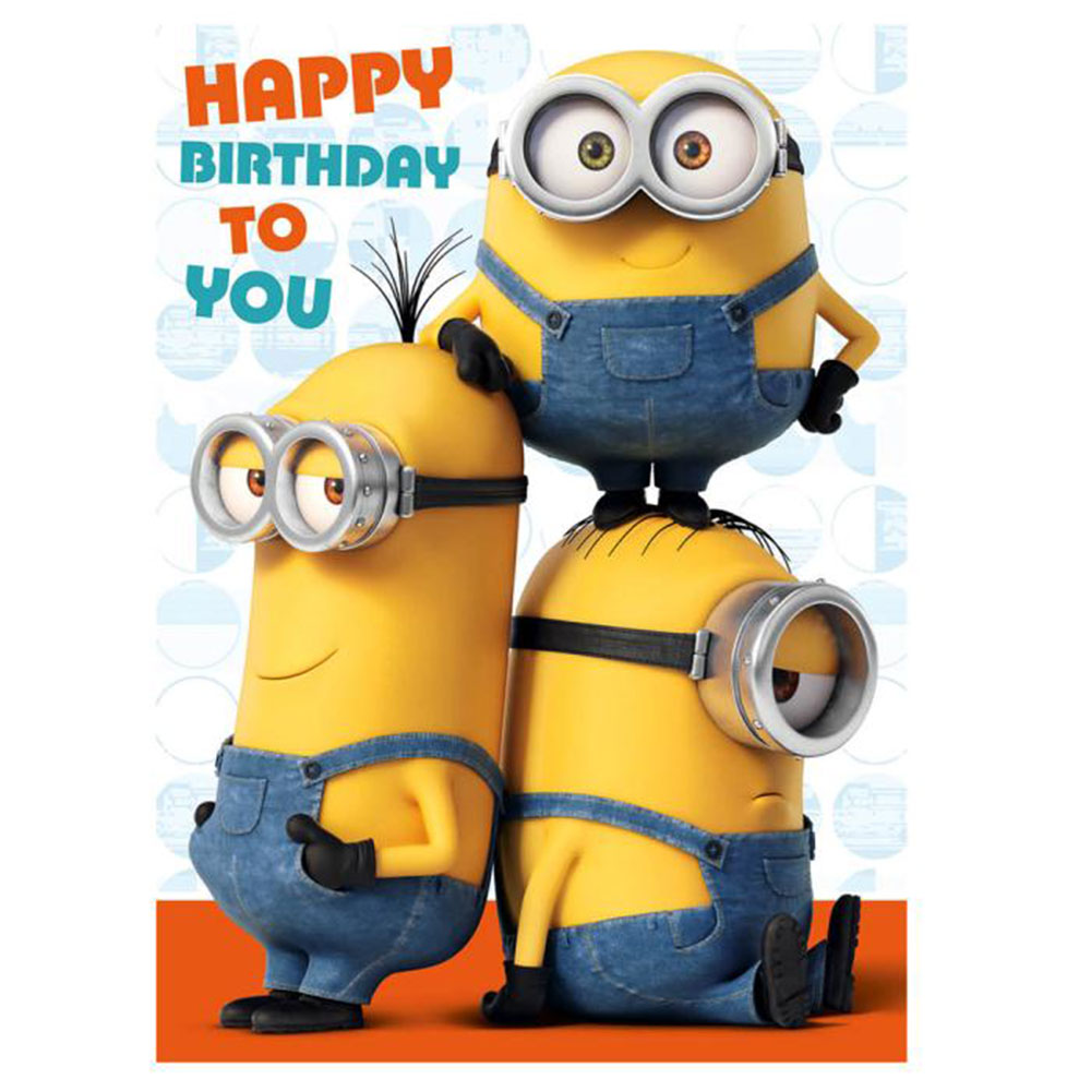 Magic image inside printable minion birthday card