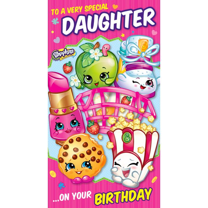 photograph relating to Shopkins Birthday Card Printable titled One of a kind Daughter Shopkins Birthday Card