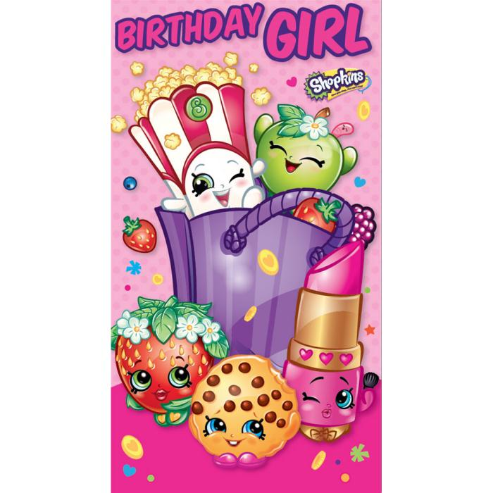 photograph regarding Shopkins Birthday Card Printable named Birthday Female Shopkins Birthday Card