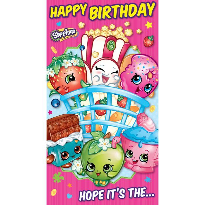 Happy Birthday Shopkins Stickers Birthday Card Sk023 Character