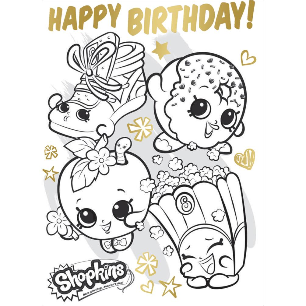Shopkins Colour In Birthday Card With Poster (SK035